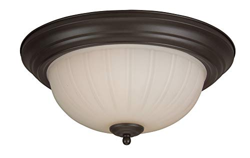 Craftmade X113-OB Bowl Flush Mount Light with Frosted Melon Glass Shades, Oiled Bronze Finish (Frosted Melon Step Pan)