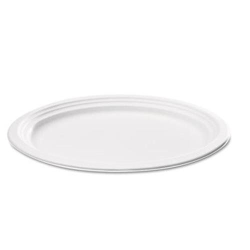 NatureHouse P009 Compostable Sugarcane Bagasse Oval Plate, 9 x 6.5, White, Case of 125 by Nature House