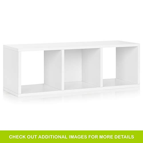 Way Basics Eco 3 Cubby Storage Bench and Stackable Organizer, White (Tool-Free Assembly and Uniquely Crafted from Sustainable Non Toxic zBoard paperboard)