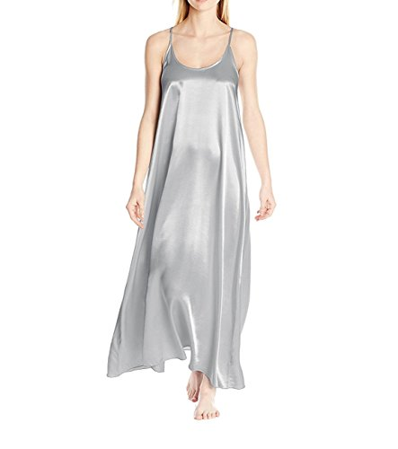 PJ Harlow Satin Long Nightgown with Gathered Back Monrow (Large, Dark Silver)