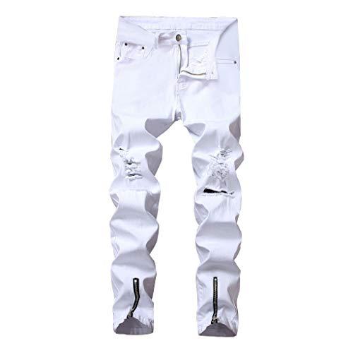 (iHPH7 Jean Men,Pocket Jeans Men,Regular Fit Jeans Men,Relaxed Jeans Men, Ripped Jeans for Men,Slim Fit Jean Men,Skinny Jeans for Men,Straight Fit Jeans Men 38 White)