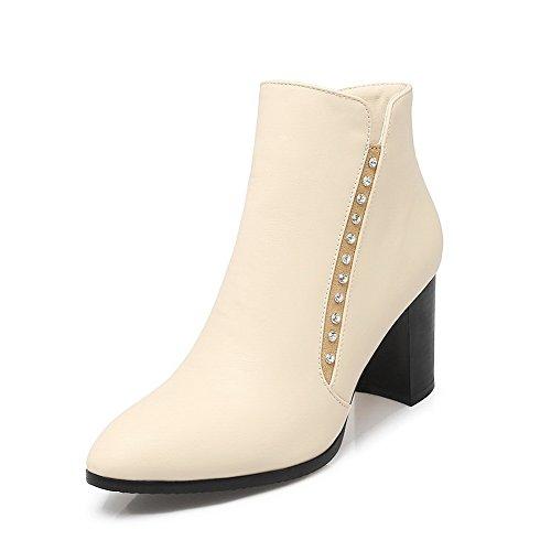 AdeeSu Womens Glass Diamond Chunky Heels Mule Imitated Leather Boots Beige av48jPj