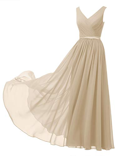 Alicepub V-Neck Chiffon Bridesmaid Dress Long Formal Gown Party Evening Dress Sleeveless, Champagne, US4