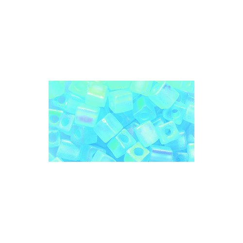 (Miyuki Seed Cube Bead SB4-148FR, 4 by 4mm, Transparent Aqua Matte Aurora Borealis Finish, 25-Gram/Pack)