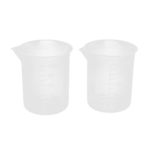 2 Pcs 100mL 3.4oZ Clear Plastic Graduated Measuring Beaker Cup for Lab