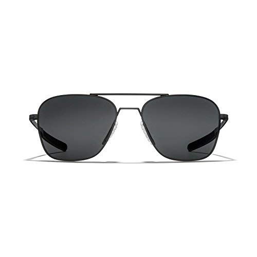 ROKA Falcon Alloy Sports Performance Aviator Polarized Sunglasses for Men and Women - Matte Black Frame - Dark Carbon (Polarized) Lens