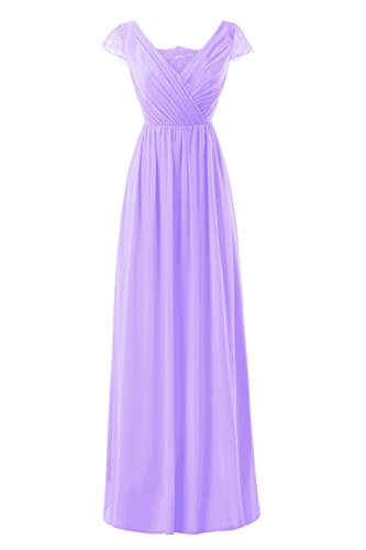 Dresses Lace Sleeve Bess Women's Long Cap Lilac Formal Bridal Prom Chiffon PwwWzT7qZ
