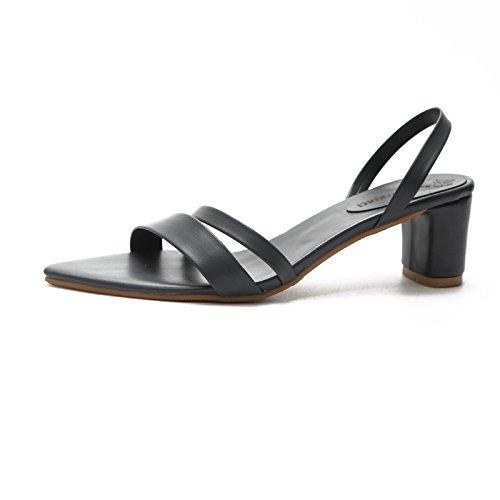 Femme Mujer Señoras Casual Negro Tacón De L6 Calzado Verano Bandolera Correa JUWOJIA De Sandalias Cuadrado Chaussures Sandalias PU qZ0ZPg