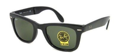 Ray-Ban Men's Folding Wayfarer Square Sunglasses, Black & Cr