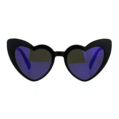Womens Heart Shape Color Mirror Cat Eye Plastic Groovy Sunglasses Black - Cat Shape Eye