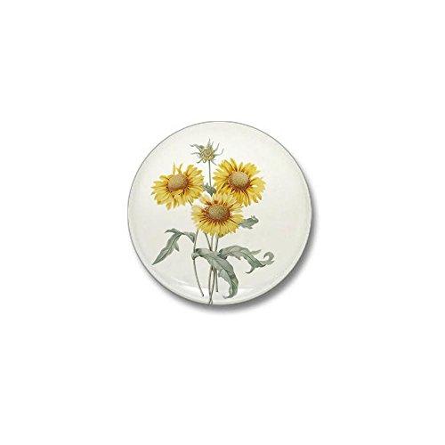 CafePress Vintage floral botanical art three sunflowers. Red 1