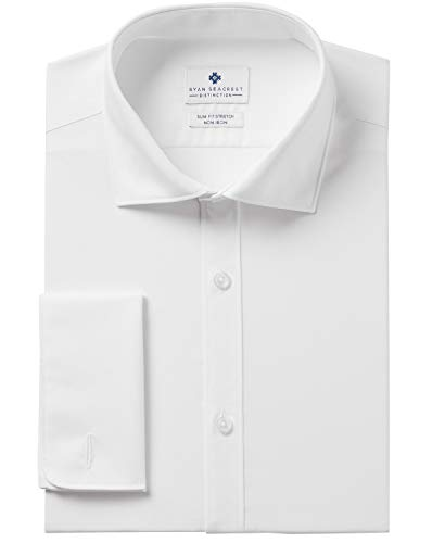 Ryan Seacrest Distinction Men's Ultimate Slim Fit Non Iron Stretch Dress Shirt, White, 17 34/35