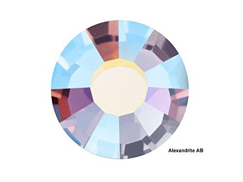 Preciosa Genuine Czech Crystals, 144pcs in size ss20 (5 mm), Alexandrite AB, Viva Chaton Roses (Viva12 MC Rhinestone Flatbacks), Alexandrite coated with Aurora Borealis, 20ss