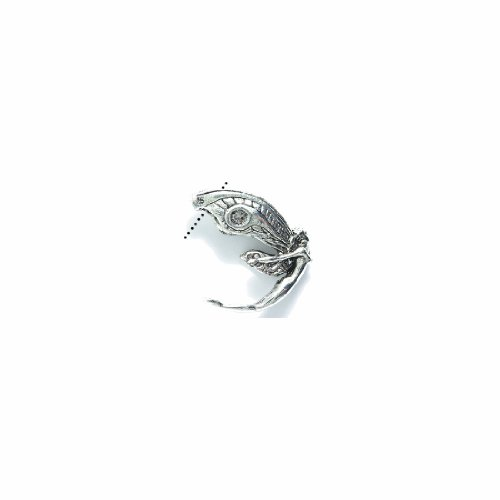 Shipwreck Beads Pewter Fairy-Hole Thru Wings Bead, Metallic, Bright Silver, 23mm - Fairy Bead
