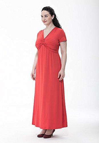MissFox Rojo Sólido Grande Vestido L para Fiesta Vestido Talla 6XL Corta Manga Mujer Largo Playa Cóctel de Color TTrw1Hqf