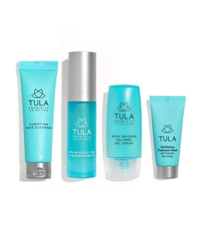 (TULA Probiotic Skin Care Clear Complexion Kit, Travel-friendly Set with Facial Cleanser, Aqua Infusion Gel Cream, Glycolic Resurfacing Gel & Exfoliating Mask for Moisturized and Youthful Skin)