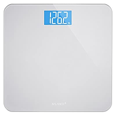 Digital Body Weight Bathroom Scale by Balance, High Accuracy, Large Glass Top, Backlit Display, Precision Measurements