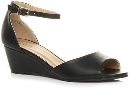 Womens Ladies Low mid Wedge Heel peep
