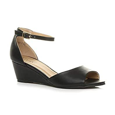 Ajvani Women's Ladies Low Mid Wedge Heel Ankle Strap Casual Evening Sandals Size 5 36 Black Matte