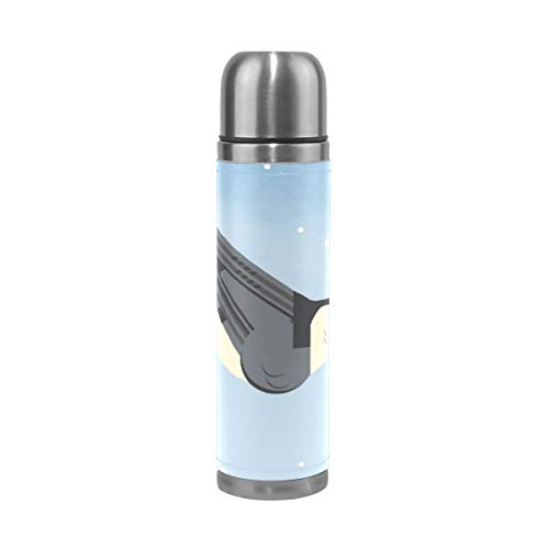 WangH Stainless Steel White Breasted Nuthatch Water Bottle Thermos- Insulated Vacuum Cup, Leather Cover 17 oz Travel Mug for Kids Adults ()