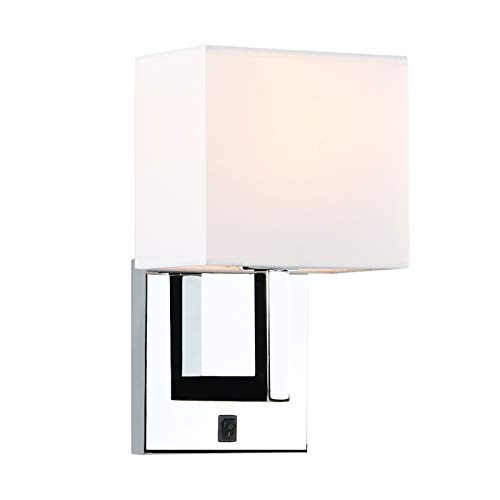 - Permo Single Wall Sconce Light Fixture Chrome Finish with White Textile Shades and On/Off Switch Button Small Modern Nightstand Lamps for Bedrooms Bedside Reading