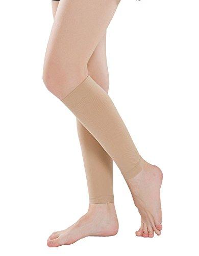 Aecibzo Calf Compression Sleeve for Women Leg Compression Socks 20-30 mmHg (Skin, S)