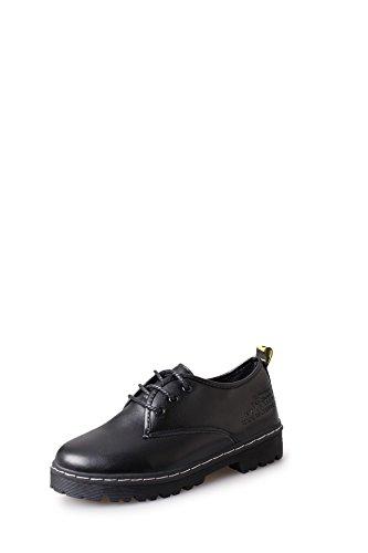 GTVERNH-Estudiantes ocio zapatos de tacon grueso espesor British mujer estudiante de encaje zapatos de ocio Colegio vientoBlackTreinta y seis Treinta y siete