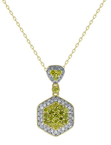 Prism Jewel 0.98Ct Yellow Diamond With Diamond Cluster Pendant With Chain 14k Yellow Gold