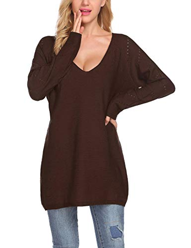 (Zeagoo Women's Oversized Knitted Long Sweater V Neck Loose Jumper Pullovers Brown/L)
