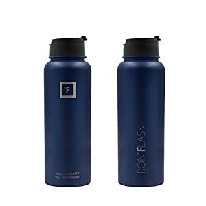 Iron Flask - 40 Oz, 3 Lids, Vacuum Insulated Stainless Steel Water Bottle, Hot & Cold, Wide Mouth, Nalgene, Double Walled, Simple Flow Thermo Modern Travel Mug, Hydro Canteen Powder Coated, Blue