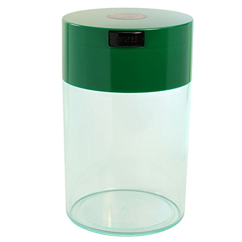 Coffeevac 1 lb - The Ultimate Vacuum Sealed Coffee Container, Green Cap Cap & Clear Body