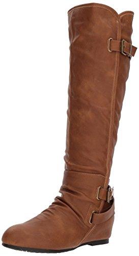 DREAM PAIRS Women's Akris Knee High Boot Camel Polyurethane