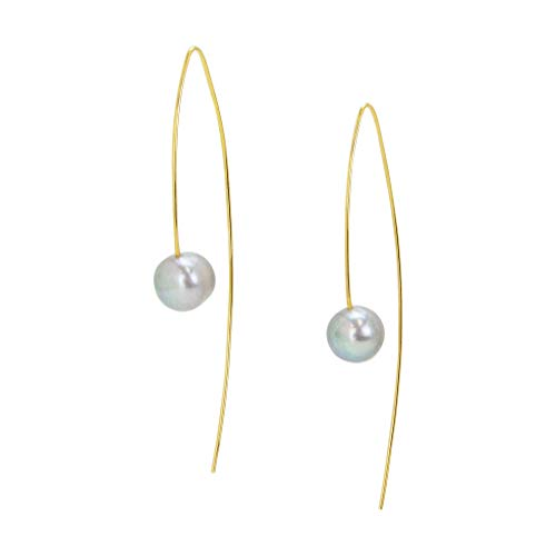 (Chan Luu Dangle Earrings with Grey Pearl and Gold Vermeil)