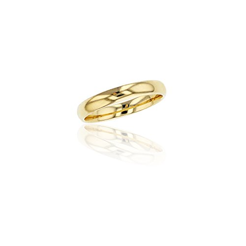 (10K Yellow Gold 3mm Polished Plain Wedding Band, Size)