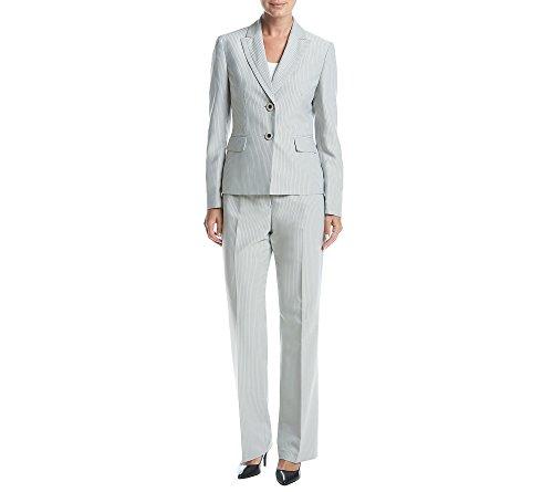 Le Suit Women's Pinstripe 2 Button Pant Suit (2), Stone/Black, 10