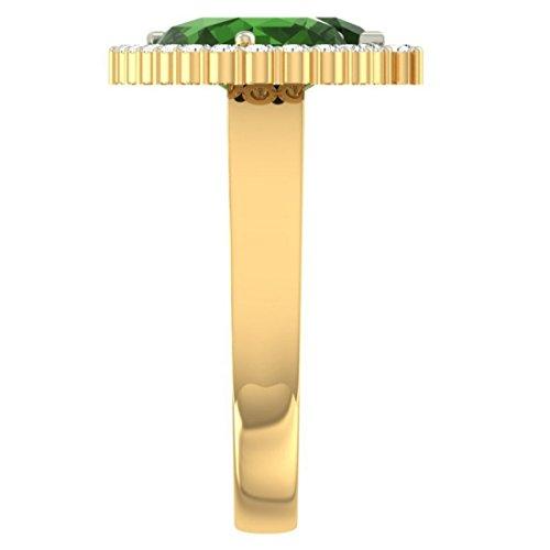 Or jaune 18K, 0.57carat Diamant Taille ronde (IJ | SI) Semi Précieuses Émeraude et diamant Bague
