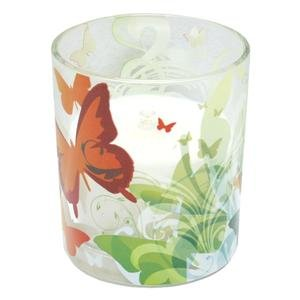 """Energizer 11697 - 3.5"""" x 5"""" Butterfly (Fresh Linen Scented) Glass Jar LED Wax Candle Light with Timer"""