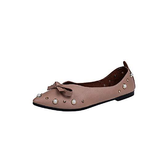 Pointus À coloré Chaussures Ballerines Qiusa Taille Femmes 41 Marron Bouts Knot Pearl Eu Marron TwBqfX0
