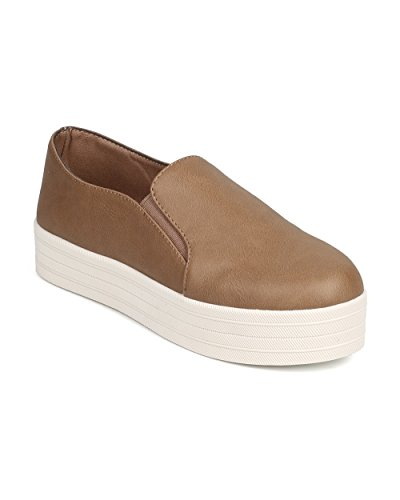 Breckelles DI31 Women Leatherette Round Toe Flatform Elastic Slip On Sneaker – Natural (Size: 10)