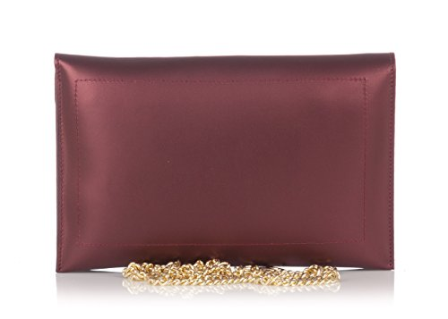Laura Moretti - bolso de embrague / sobre de cuero Bordo