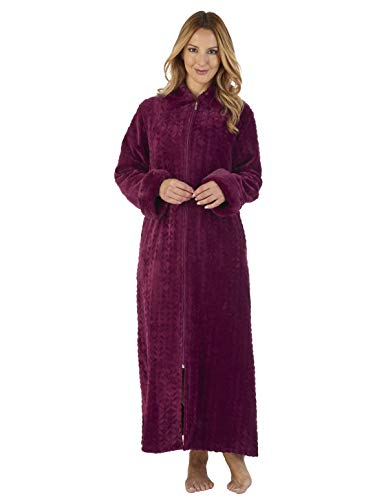 Loungewear Gown Robe Purple Collar Damson Dressing XXLarge HC2342 Women's Bath Slenderella Faux xOwq076g