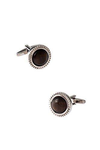 (Round Ornate Button Brown Metal Cufflinks)