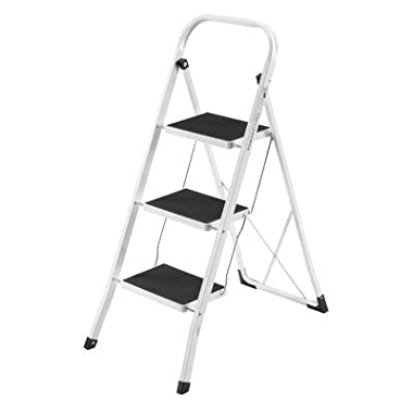 VonHaus Steel Folding Portable 3 Step Ladder with 330lbs Capacity