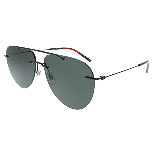 (Gucci Rimless Aviator GG 0397S 001 Ruhtneium Metal Rimless Sunglasses Grey Lens)