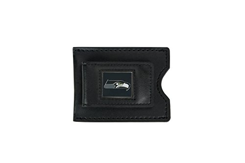 NFL Seattle Seahawks Men's Leather Money Clip and Card Case, 3.5 x 2.75