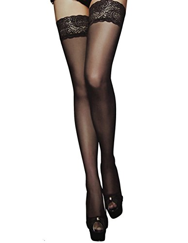 Thigh High Stocking Silicone Lace Top Sheer Pantyhose Silky Tights of SUREPOCH (B+, 1 Pair Black) (Pantyhose High)