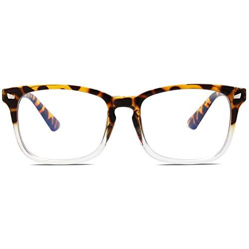 SOJOS Blue Light Blocking Glasses Square Eyeglasses Frame Anti Blue Ray Computer Game Glasses for Women Men Crazy Work SJ5028 with Tortoise and Transparent Frame/Anti-Blue Light Lens