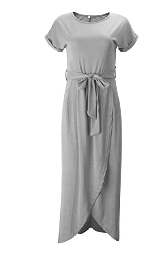 Waist With Women Coolred Cut Dress Belt Party Out Grey Irregular Top Leisure Tunic wSqBUxqY