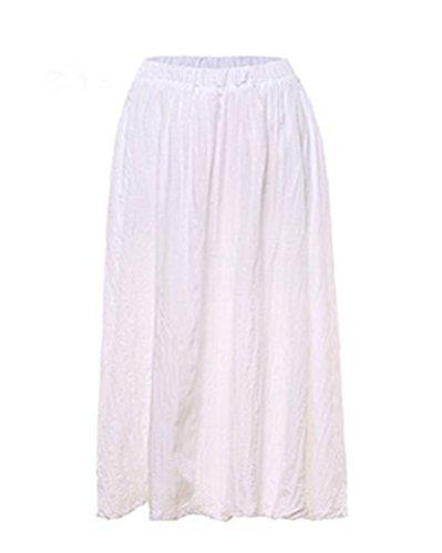 en Taille Et Elastique Tour Bohme avec Pure Lin Couleur Jupe Cheville Femme De Jupe Longue Maxi Longue Blanc Plisse Jupon SEwAP