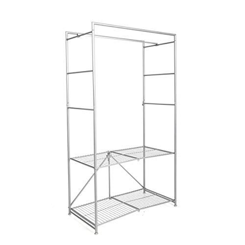 Origami Portable Wardrobe Closet for Hanging Clothes   Foldable Closet Rack for Organization and Storage, Collapsible Mobile Small Metal Rack with Cover, Heavy Duty Organizer, 36 x 18 x 63   Steel